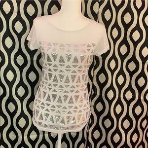 Nwot INC mesh shoulder sequins top